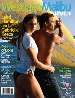 WESTLAKE MALIBU LIFESTYLE NOV-DEC 2009. LAIRD HAMILTON AND GABRIELLE REECE COVER STORY